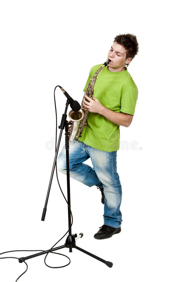 Download Saxophone stock photo. Image of wind, shirt, alto, handsome - 29023714