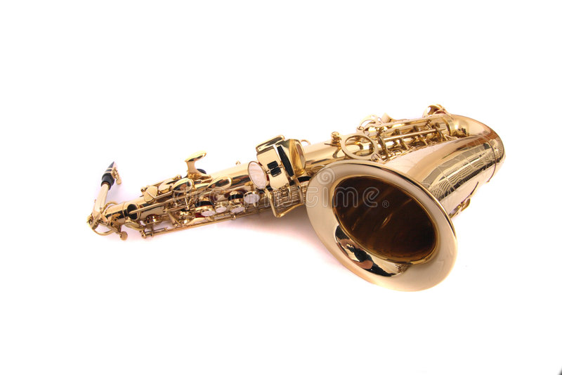 Saxophone. New gold saxophone on the white background royalty free stock images