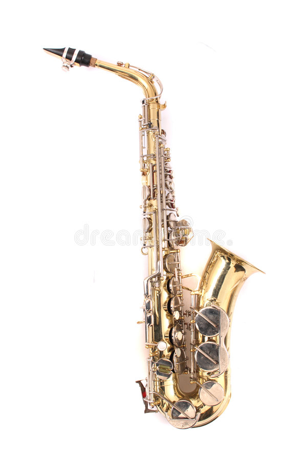 Saxophone. Very old saxophone on the white background stock photo