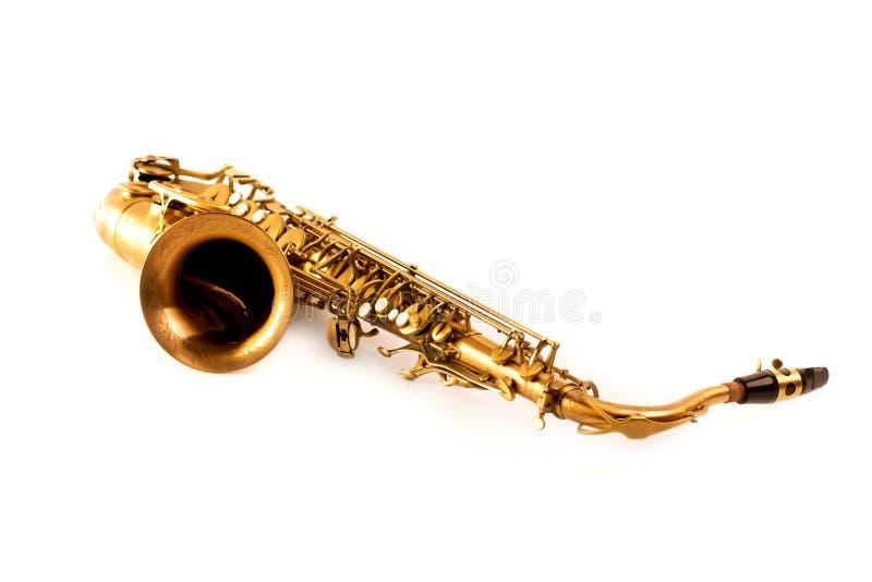 Saxophone d'or de saxophone ténor d'isolement sur le blanc photos libres de droits