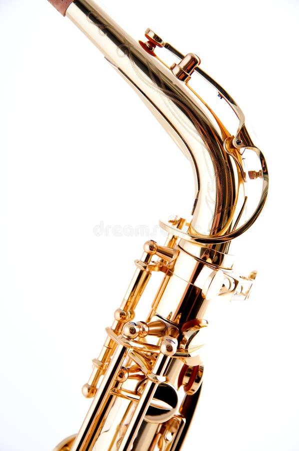 saxophone de professionnel de cou d'or images stock