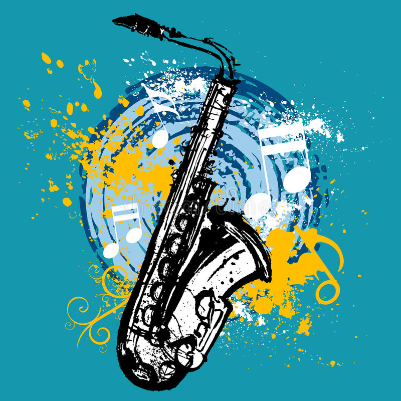 Download Saxophone design stock vector. Image of horn, instrument - 9477355
