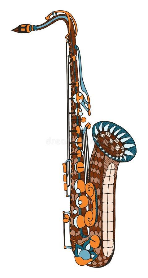 saxophone Gestileerde Zentangle Patroon Vector illustratie Fr stock illustratie