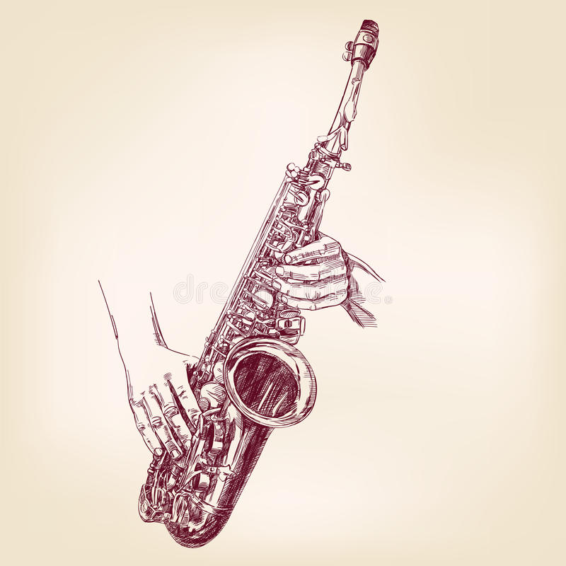Saxophone hand drawn vector llustration stock illustration