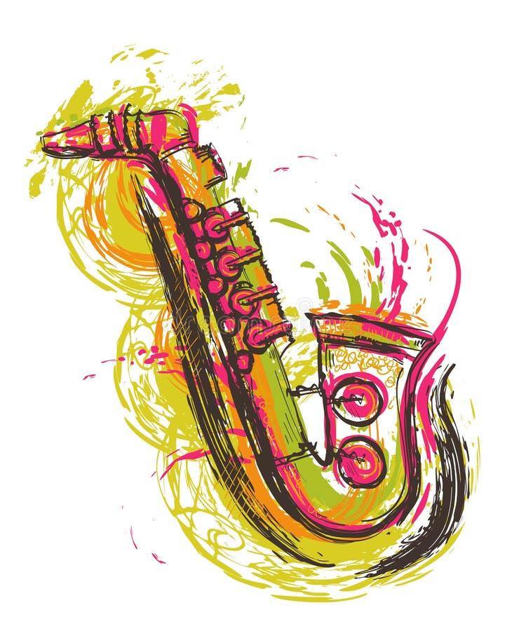 saxophone Hand getrokken grunge stijlart. stock illustratie