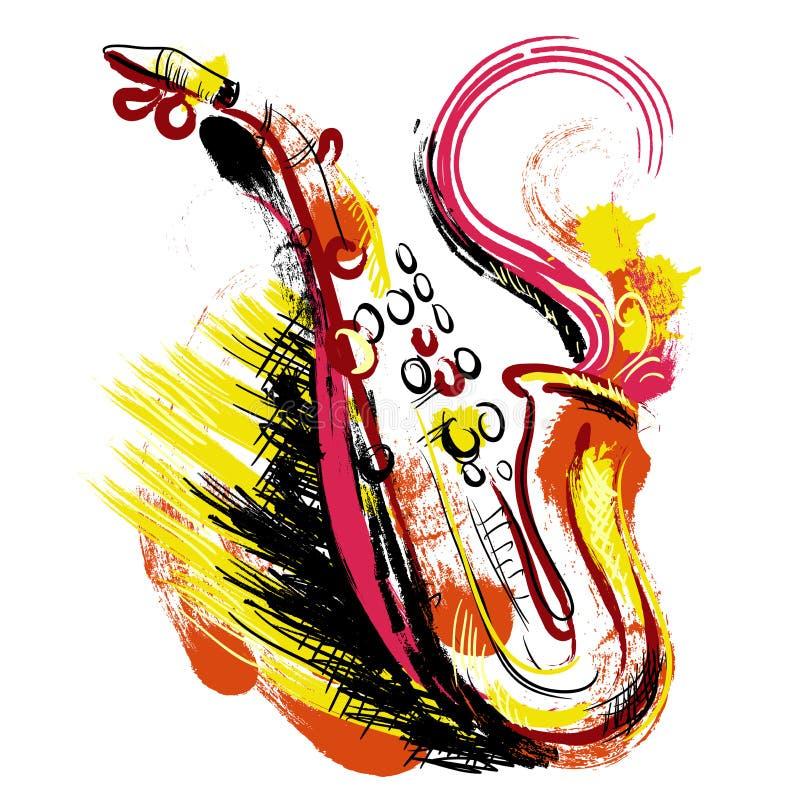 saxophone Hand getrokken grunge stijlart. Kleurrijke retro vectorillustratie stock illustratie