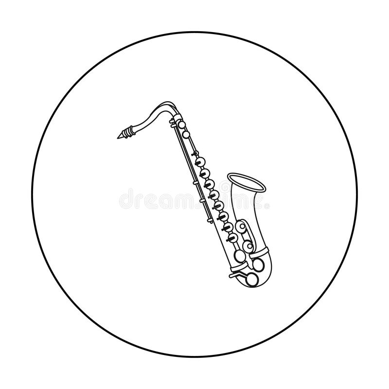 Saxophone Icon In Outline Style Isolated On White Background