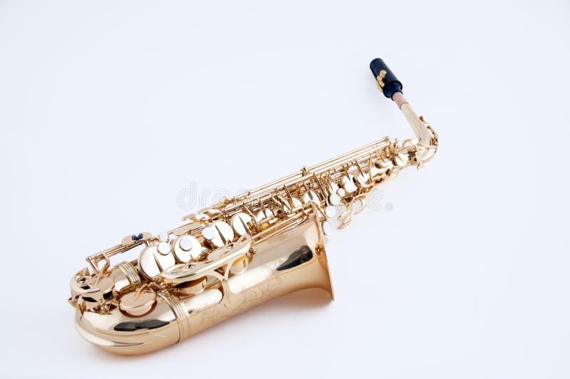 Saxophone Isolated On White Bk stock photos