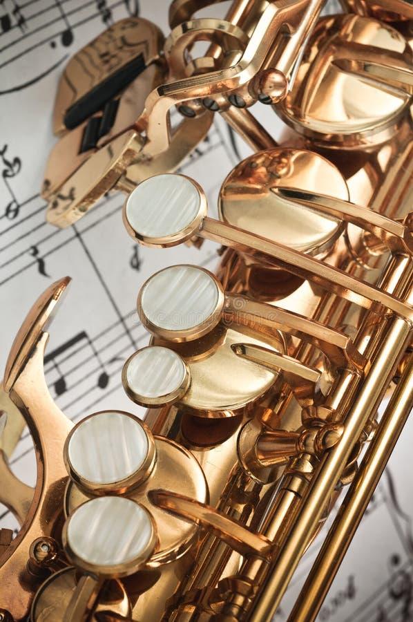Saxophone keys closeup royalty free stock photos