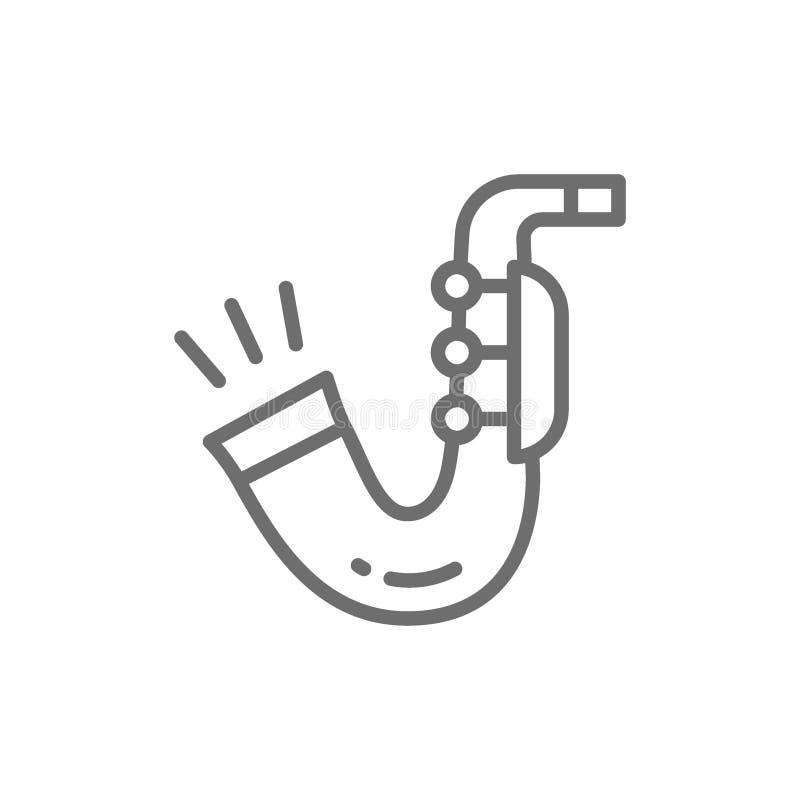 Saxophone, ligne icône de trompette illustration de vecteur