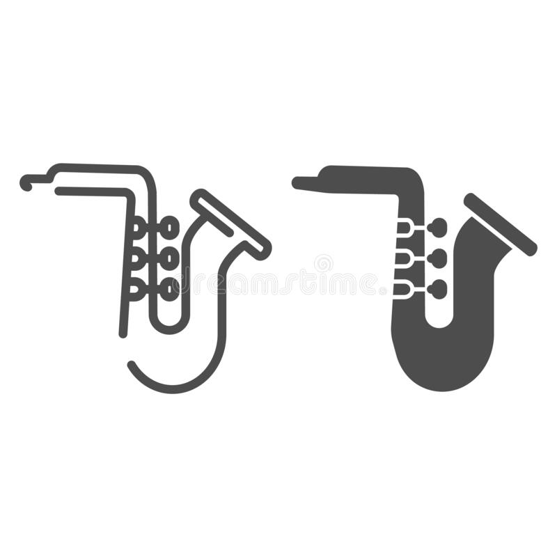 Saxophone line and glyph icon. Jazz trumpet vector illustration isolated on white. Musical wind instrument outline style royalty free illustration