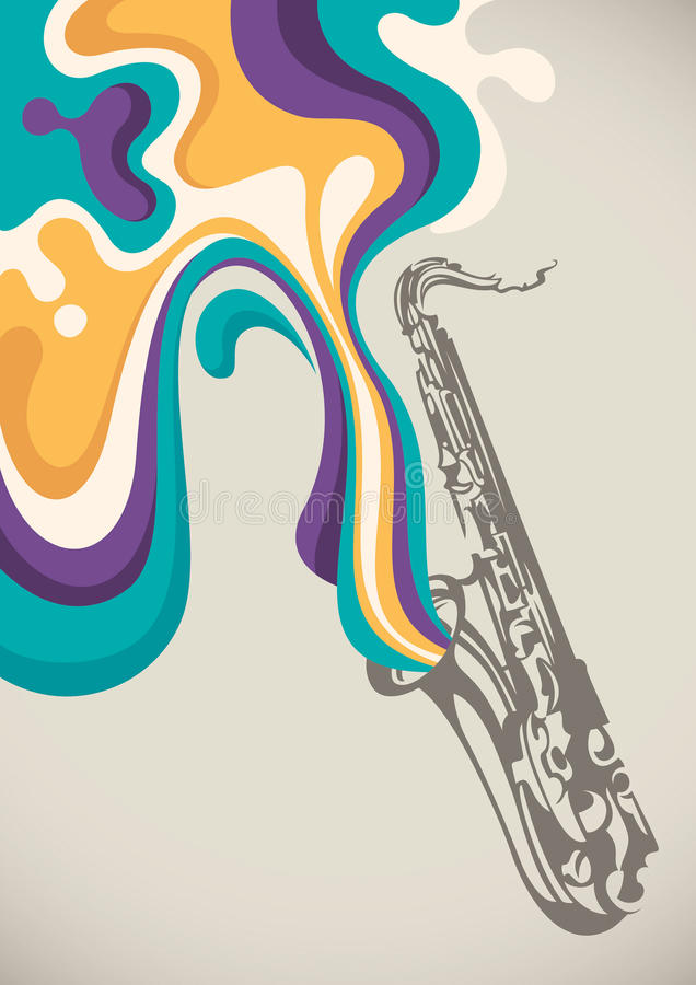 Download Saxophone With Liquid Abstraction. Stock Vector - Illustration: 25818449