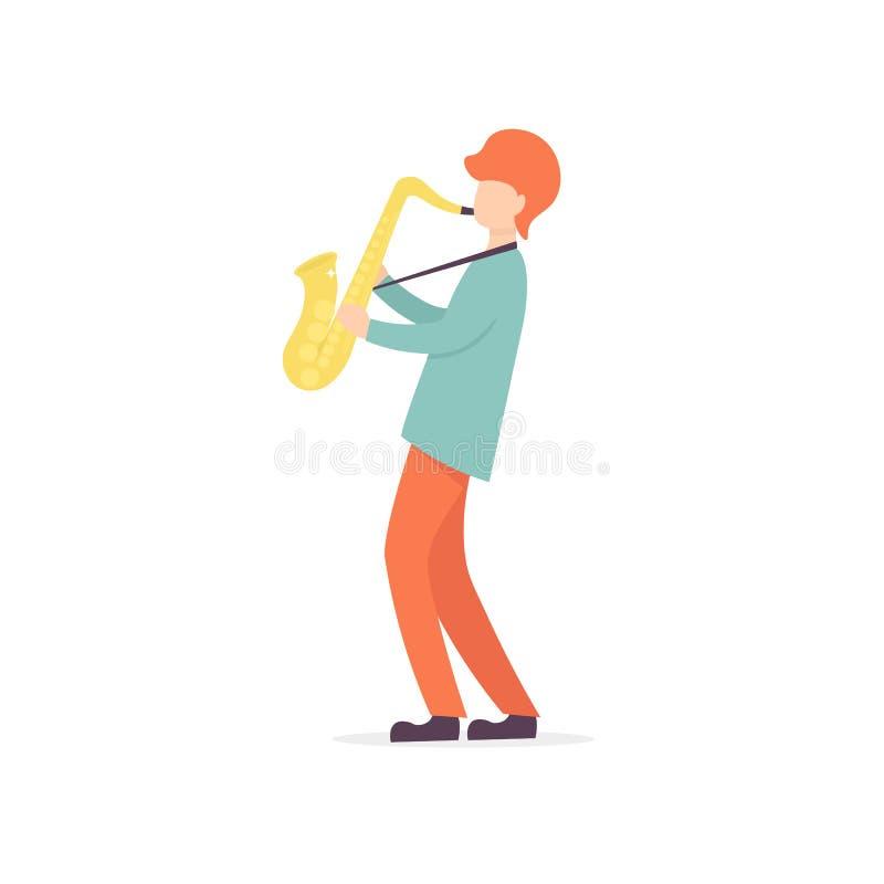 Saxophone man character musician vector illustration
