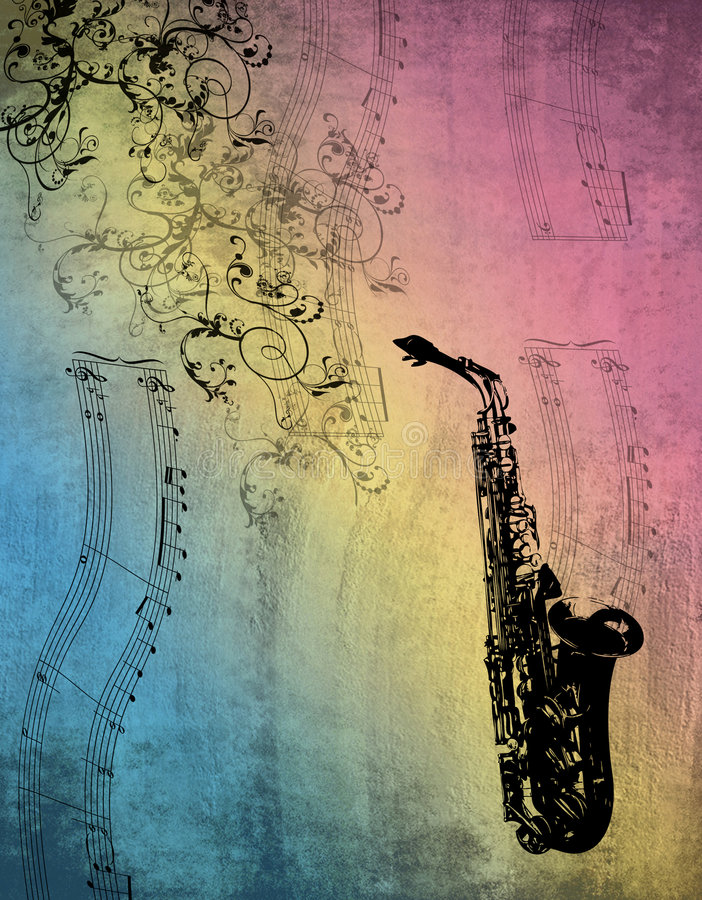 Saxophone Music. Computer generated background. Music notes mingle with the swirls and elements on the background. Grunge texture