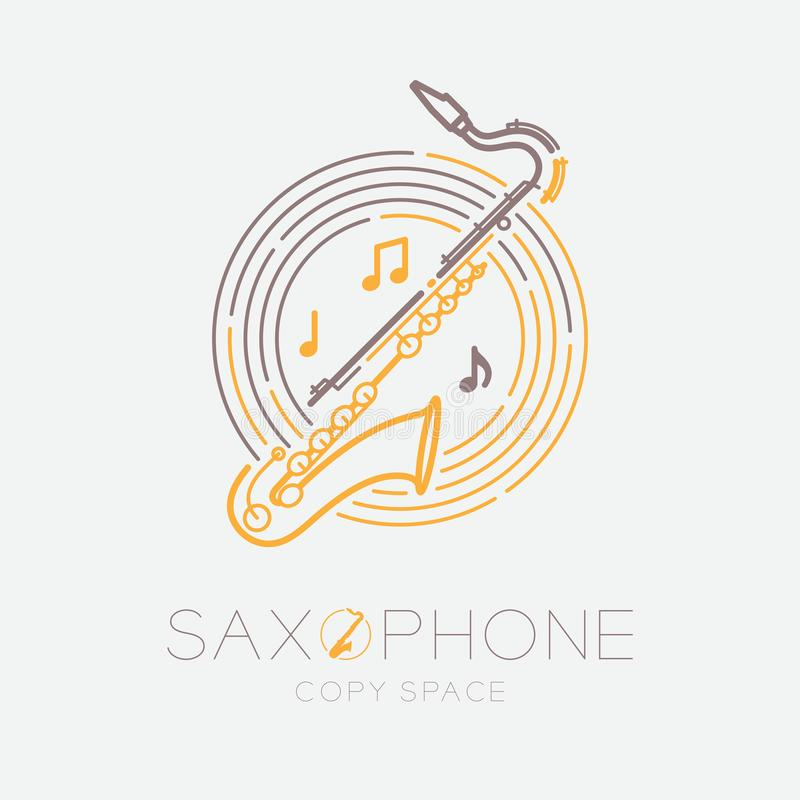Saxophone, music note with line staff circle shape logo icon outline stroke set dash line design illustration isolated on grey. Background with saxophone text vector illustration