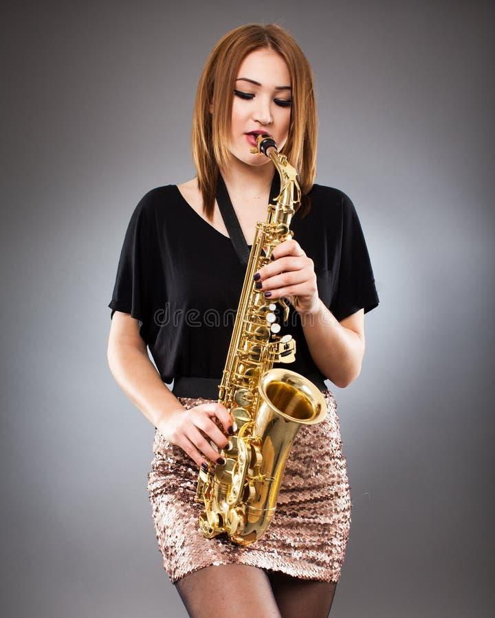 Saxophone player closeup royalty free stock photography