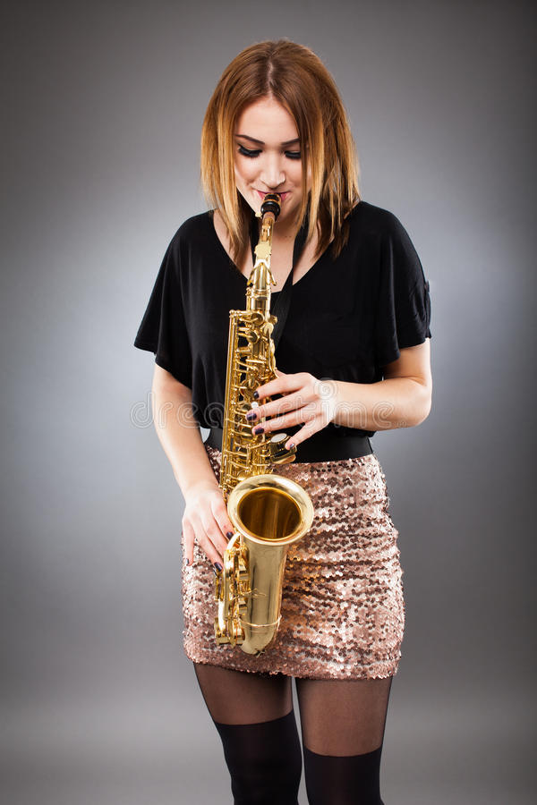 Download Saxophone player closeup stock image. Image of beauty - 39056823