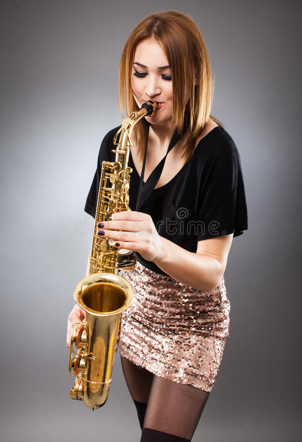 Download Saxophone player closeup stock image. Image of beauty - 39056831