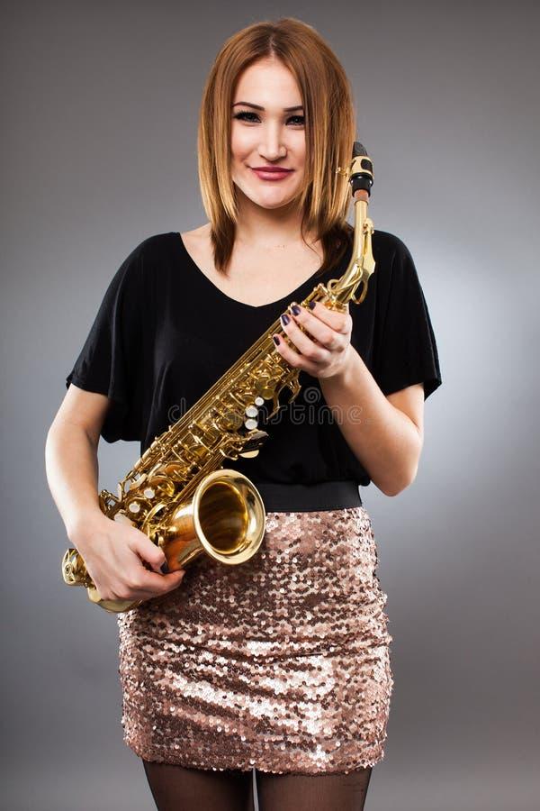 Saxophone player closeup royalty free stock photos