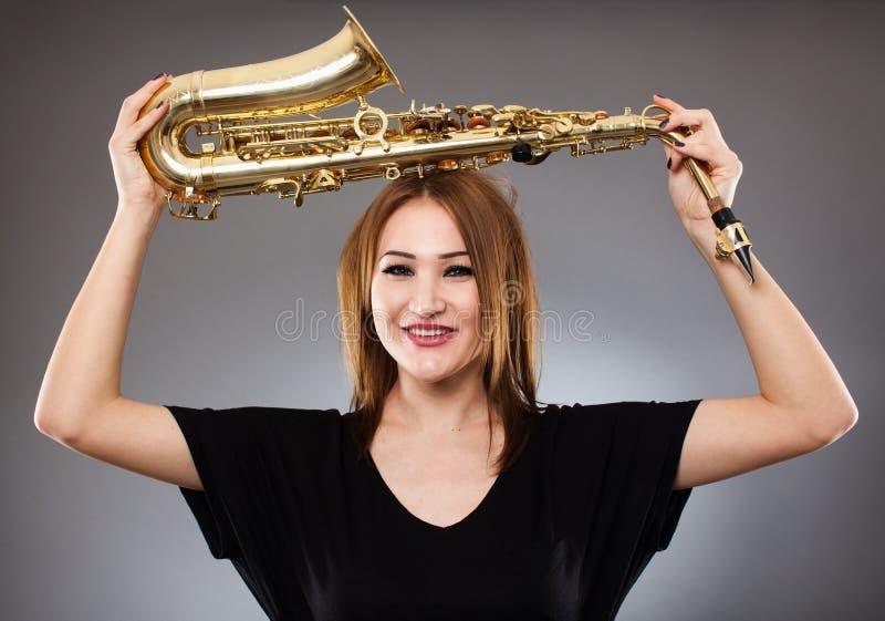 Saxophone player closeup stock photography