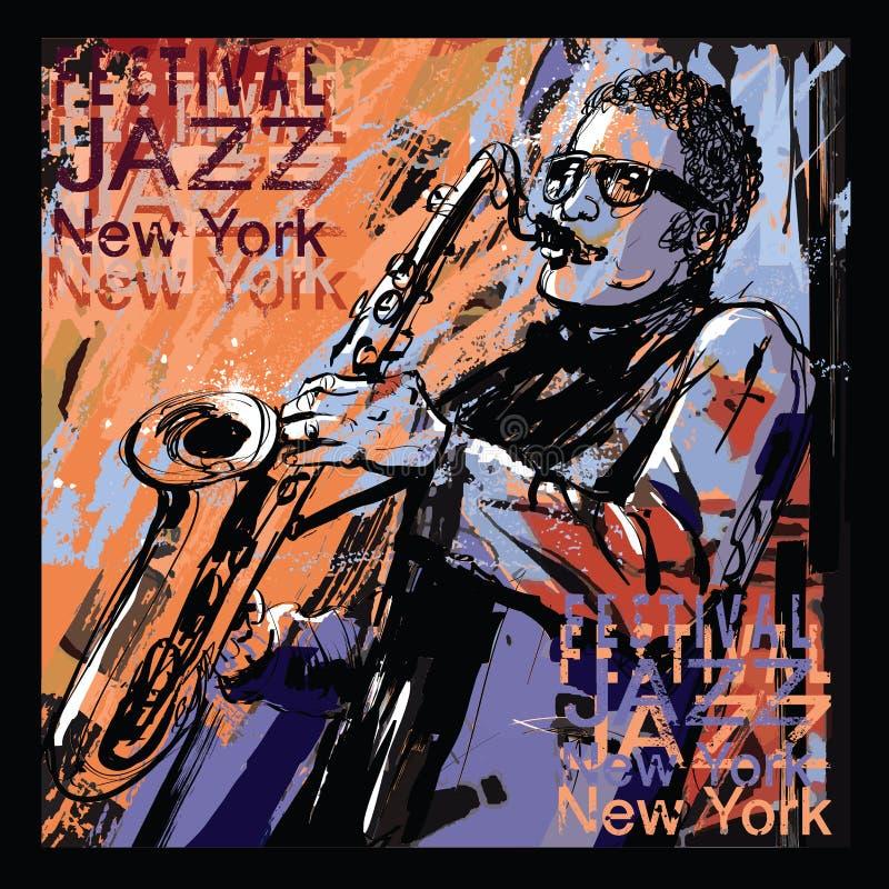Saxophone player on grunge background royalty free illustration