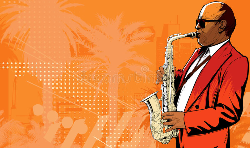 Saxophone player in a street royalty free illustration