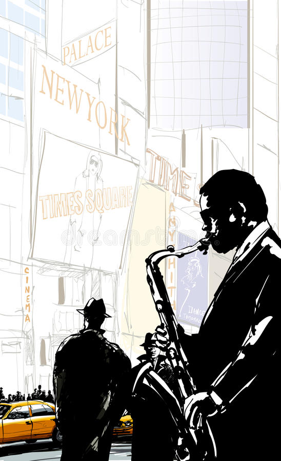 Saxophone player in a street of New York near Times Square royalty free illustration