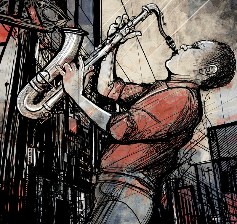 Saxophone player in a street at night stock illustration