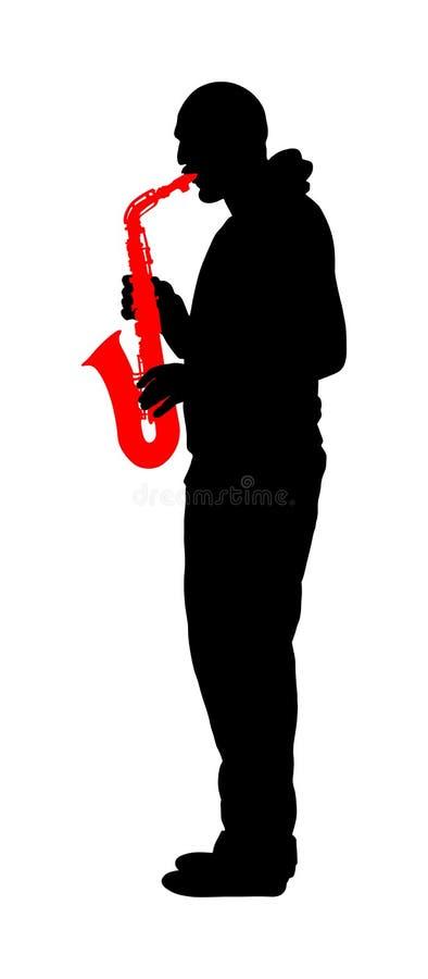 Saxophone player vector silhouette illustration. Music man play wind instrument. Music artist. Jazz man. Bugler street performer. vector illustration