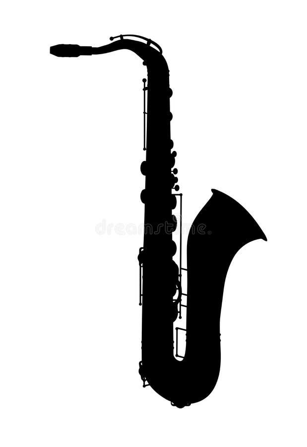 saxophone Silhouet van het jazz het muzikale instrument vector illustratie