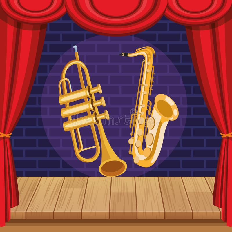 Saxophone and trumpet. Icon cartoon on stage vector illustration graphic design royalty free illustration