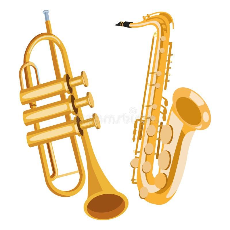 Saxophone and trumpet. Icon cartoon vector illustration graphic design vector illustration