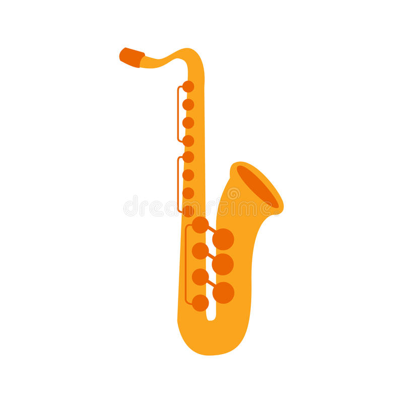 Saxophone, une partie d'ensemble d'instruments de musique d'illustrations d'isolement par vecteur réaliste de bande dessinée illustration de vecteur