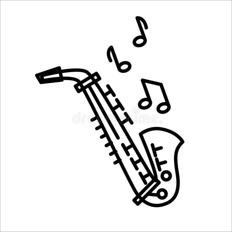Saxophonikonen-Illustrationsvektor lokalisiert auf Weiß stock abbildung