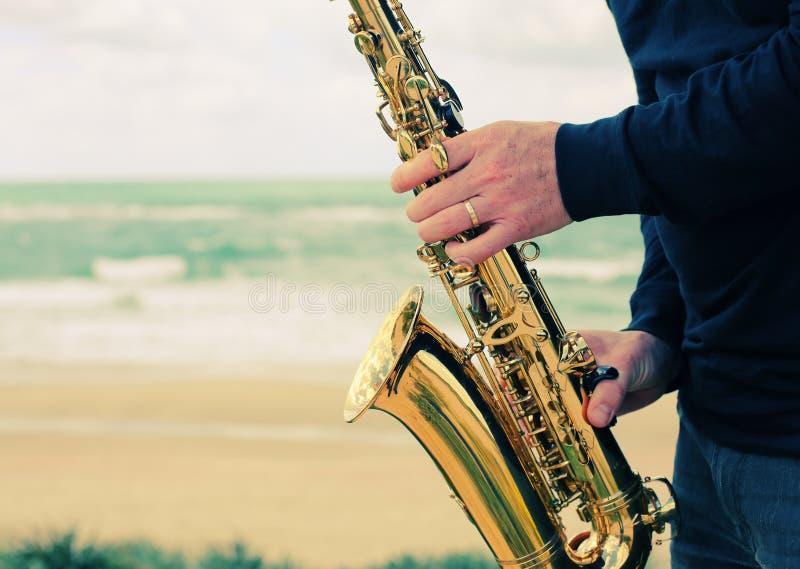 saxophonist fotografie stock