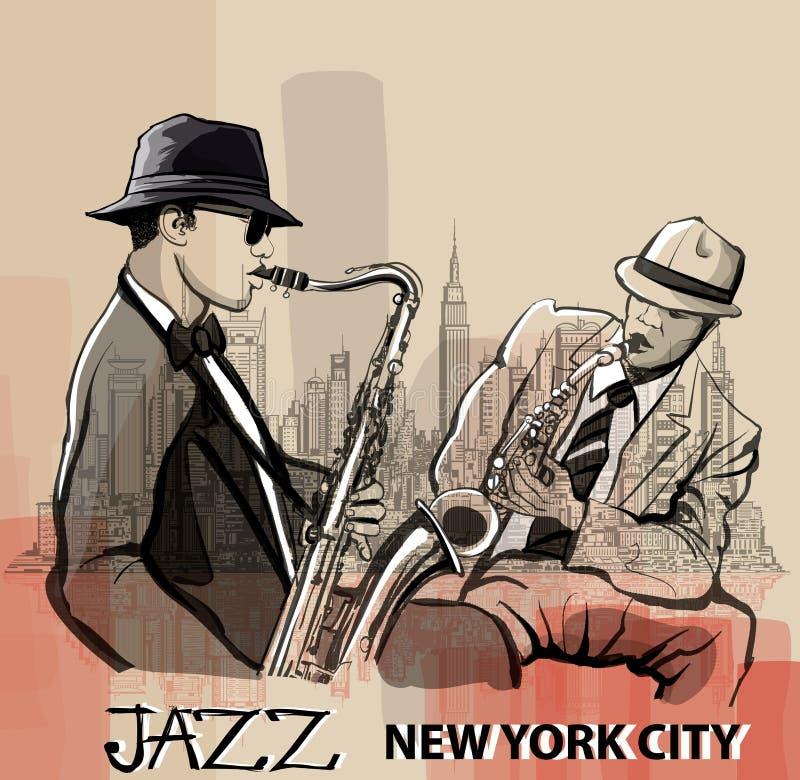 Saxophonist des Jazz zwei, der in New York spielt lizenzfreie abbildung