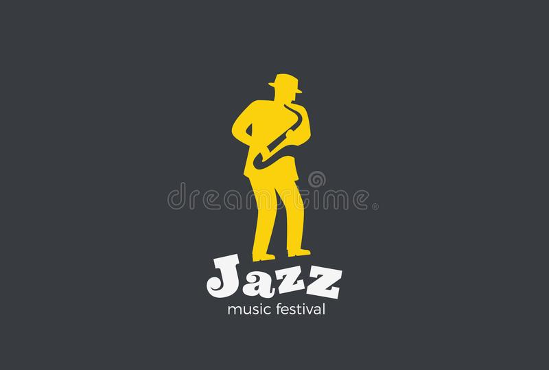 Saxophonist playing Jazz Saxophone Logo vector. Mu. Saxophonist playing Jazz on Saxophone Logo design vector template Negative space style. Jazz-band music stock illustration