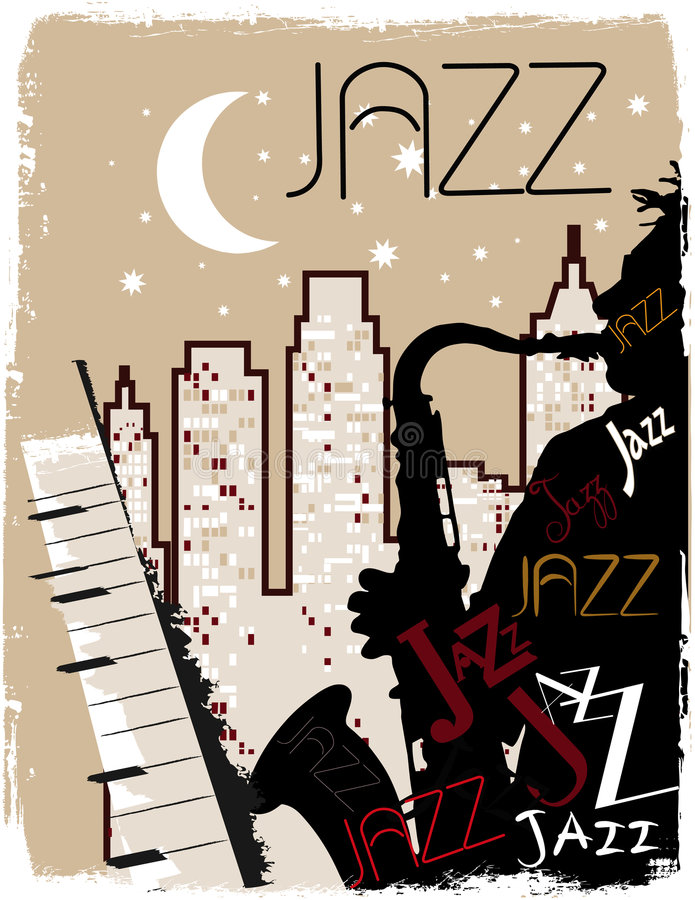 Saxophonist playing at night royalty free illustration