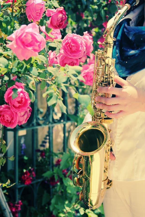Saxophonist royalty free stock image