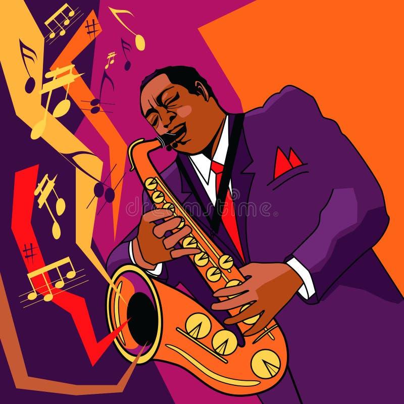 Saxophonist on stage royalty free illustration