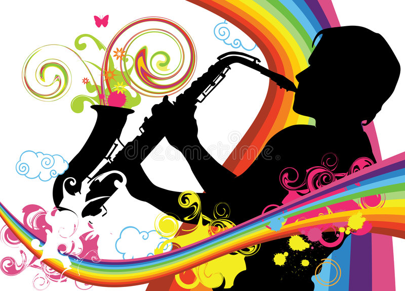 Saxophoniste illustration stock