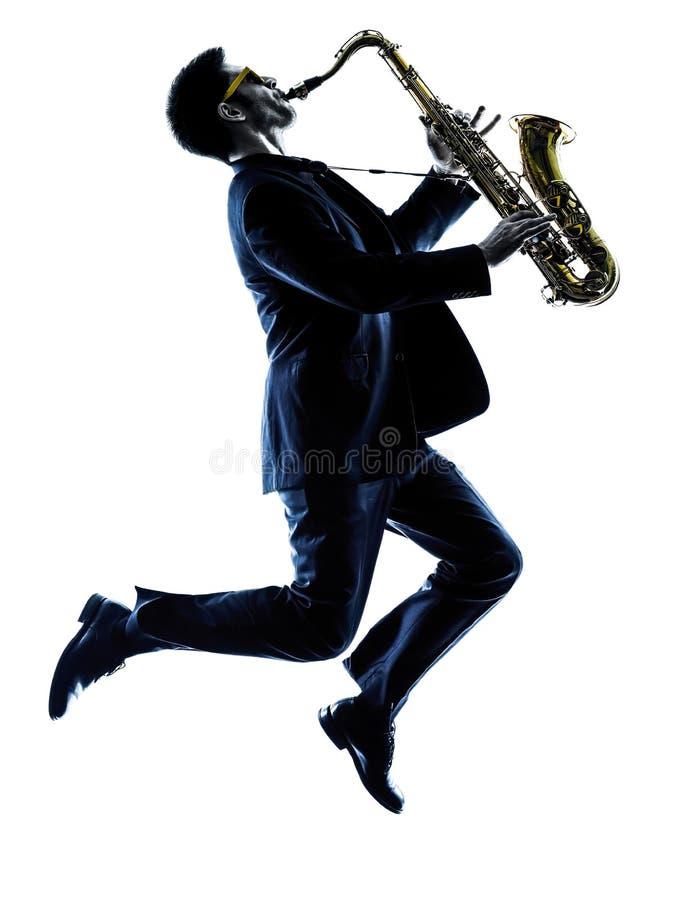 Saxophoniste d'homme jouant la silhouette de joueur de saxophone photos stock