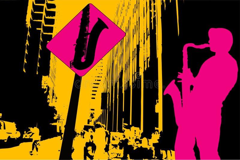 Saxophoniste dans la rue illustration stock