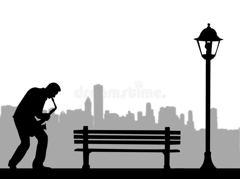 Saxophoniste dans la ville illustration stock