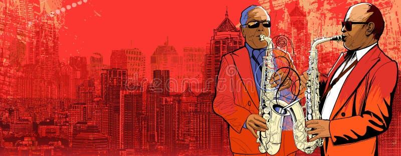 Saxophoniste deux au-dessus d'une vue panoramique o de fond illustration stock