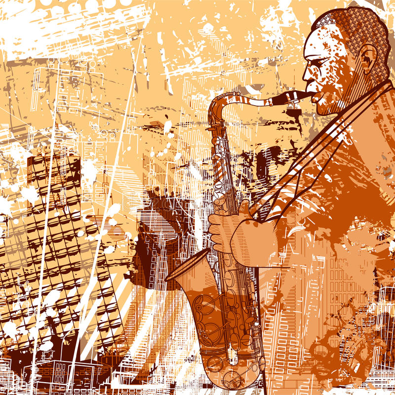 Saxophoniste sur un fond grunge illustration stock