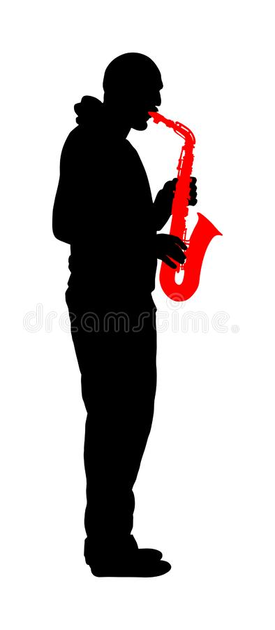Saxophonspieler-Vektorschattenbildillustration Musikmann-Spielblasinstrument Musikkünstler Jazz-Mann lizenzfreie abbildung