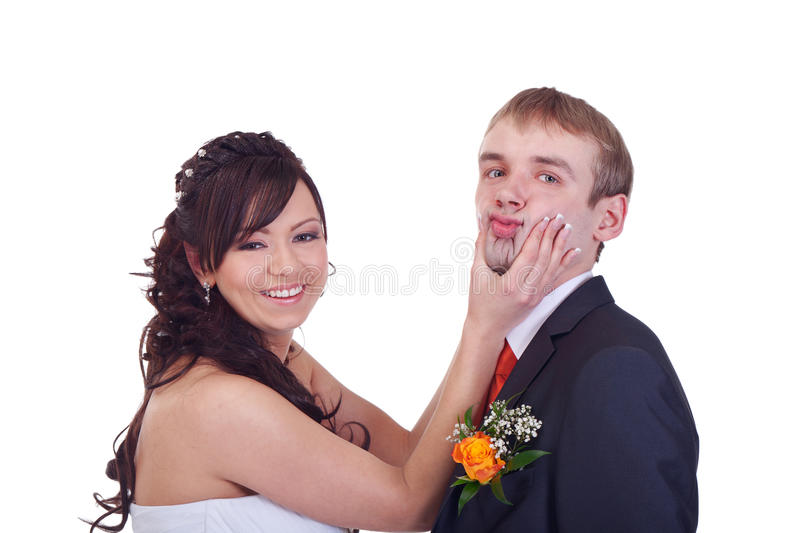 Say. Bride is forcing groom to say yes royalty free stock image