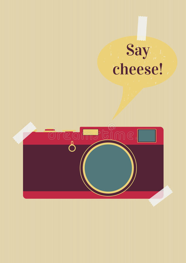 Say cheese. Retro camera with say cheese text on background royalty free illustration