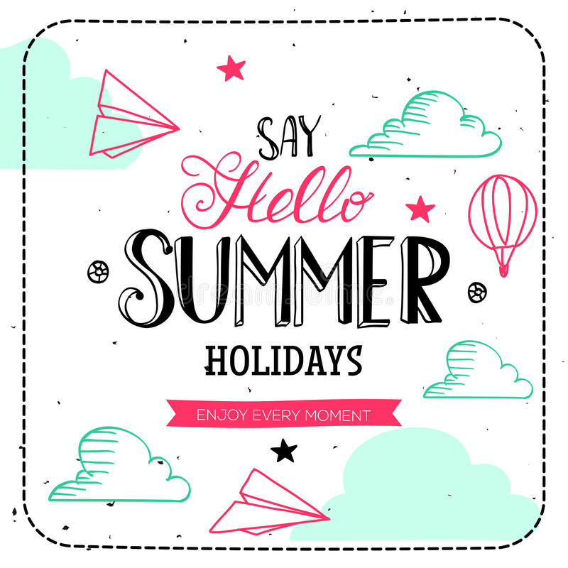 Download Say Hello Summer Holidays Typography Stock Vector   Illustration  Of Decorative, Advertising: 70206842
